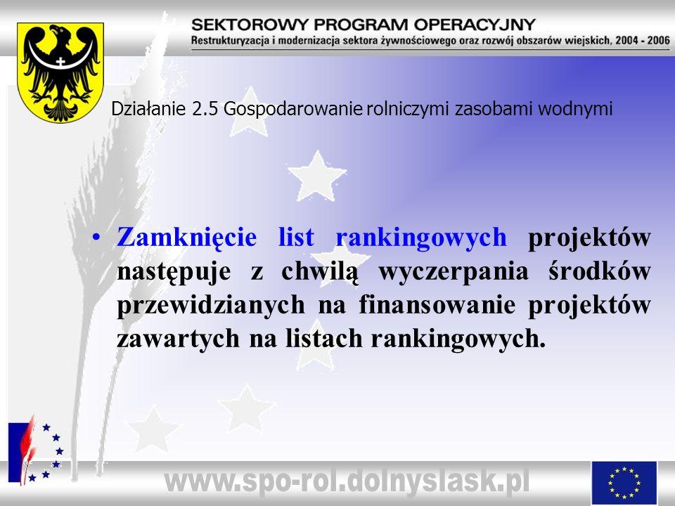 Zamknięcie list rankingowych projektów następuje z chwilą wyczerpania środków przewidzianych na finansowanie projektów zawartych na listach rankingowy