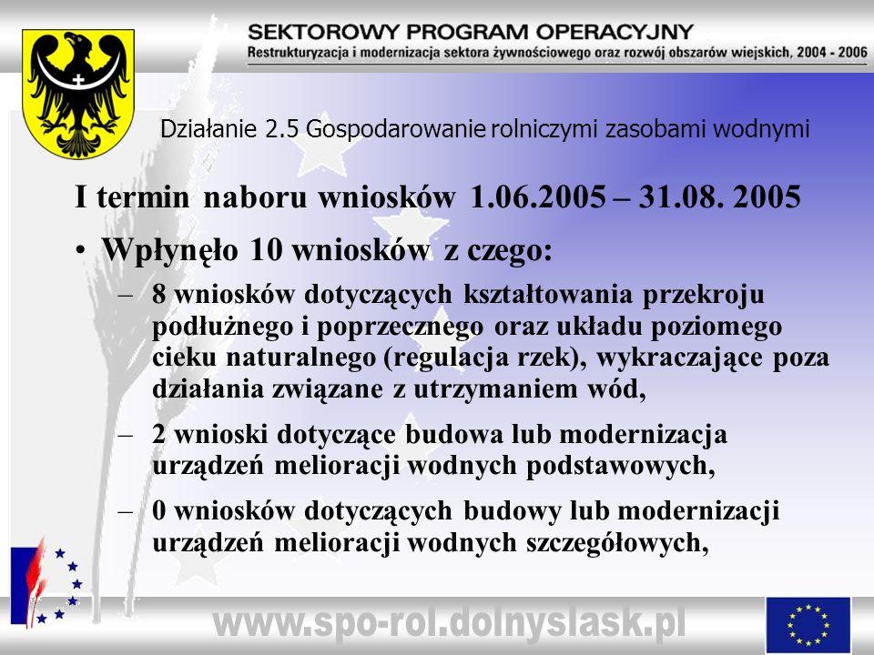 I termin naboru wniosków 1.06.2005 – 31.08. 2005 Wpłynęło 10 wniosków z czego: –8 wniosków dotyczących kształtowania przekroju podłużnego i poprzeczne