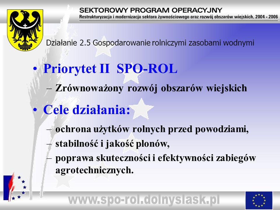 Priorytet II SPO-ROL –Zrównoważony rozwój obszarów wiejskich Cele działania: –ochrona użytków rolnych przed powodziami, –stabilność i jakość plonów, –