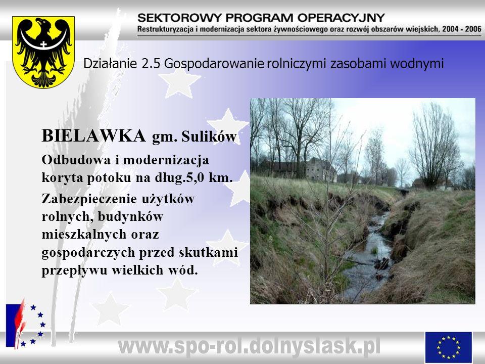 Działanie 2.5 Gospodarowanie rolniczymi zasobami wodnymi BIELAWKA gm. Sulików Odbudowa i modernizacja koryta potoku na dług.5,0 km. Zabezpieczenie uży