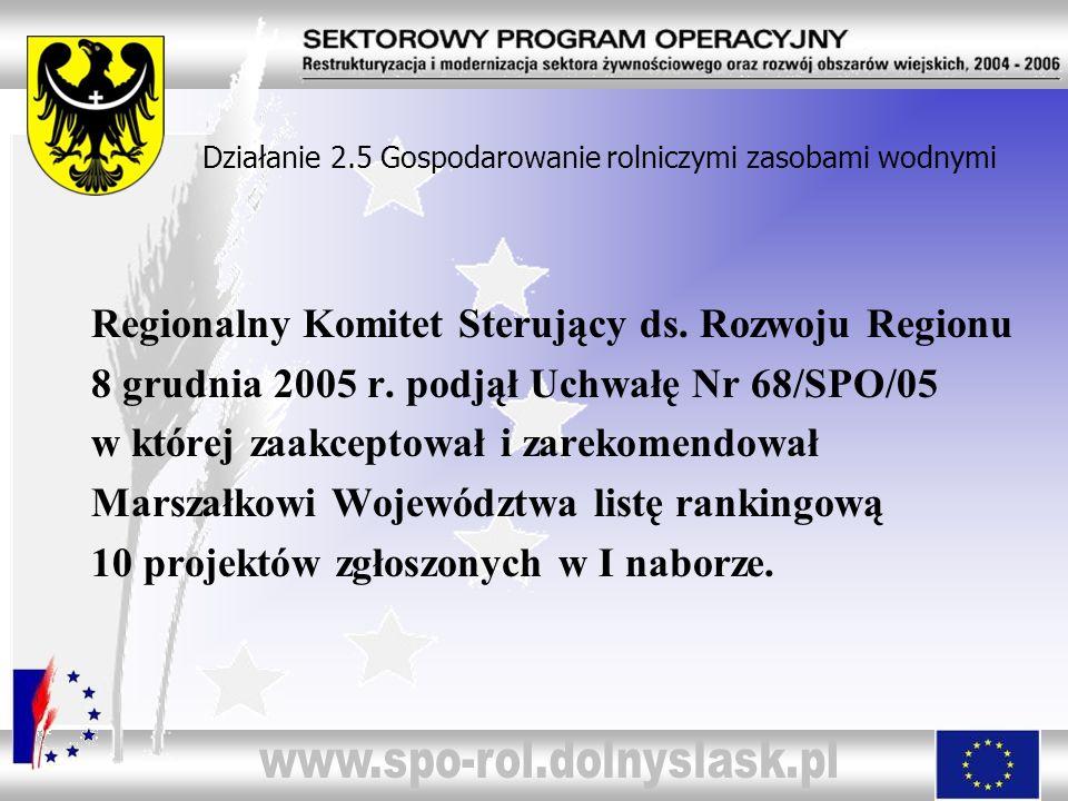 Działanie 2.5 Gospodarowanie rolniczymi zasobami wodnymi Regionalny Komitet Sterujący ds. Rozwoju Regionu 8 grudnia 2005 r. podjął Uchwałę Nr 68/SPO/0