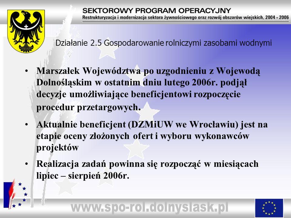Działanie 2.5 Gospodarowanie rolniczymi zasobami wodnymi Marszałek Województwa po uzgodnieniu z Wojewodą Dolnośląskim w ostatnim dniu lutego 2006r. po