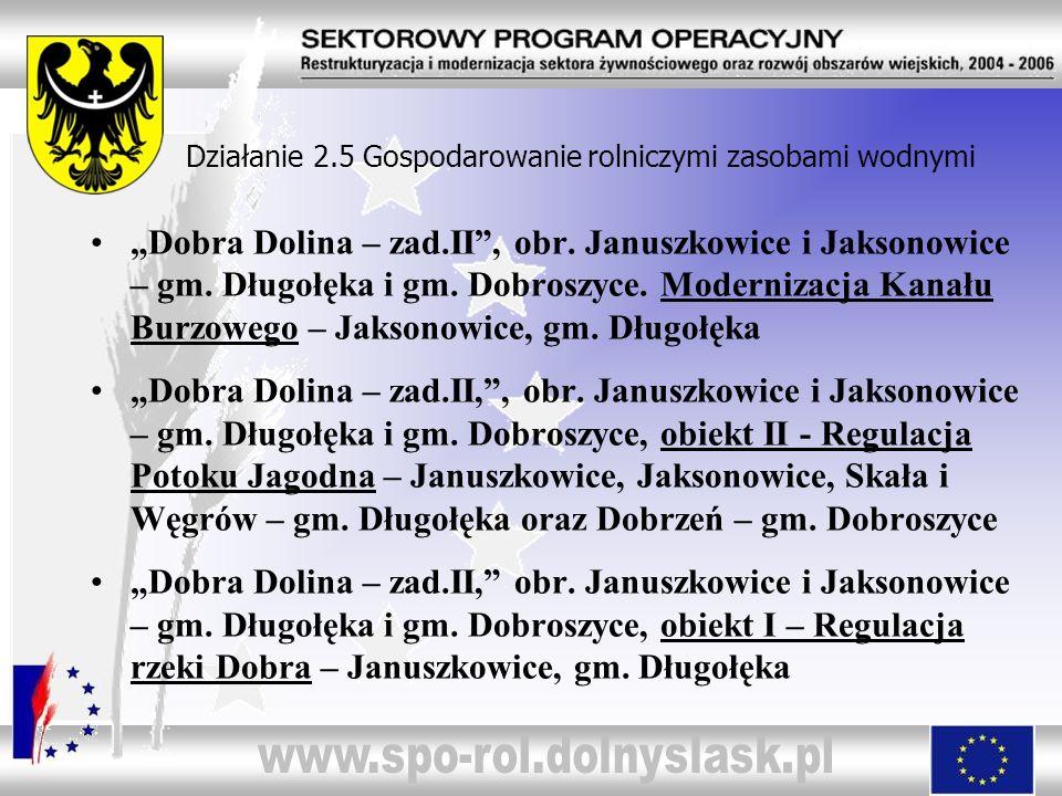 Działanie 2.5 Gospodarowanie rolniczymi zasobami wodnymi Dobra Dolina – zad.II, obr. Januszkowice i Jaksonowice – gm. Długołęka i gm. Dobroszyce. Mode