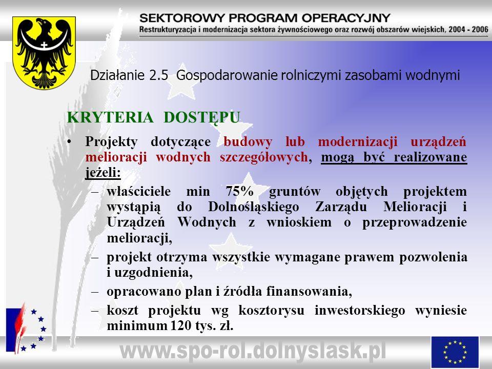 Działanie 2.5 Gospodarowanie rolniczymi zasobami wodnymi POTOK BRÓD gm.