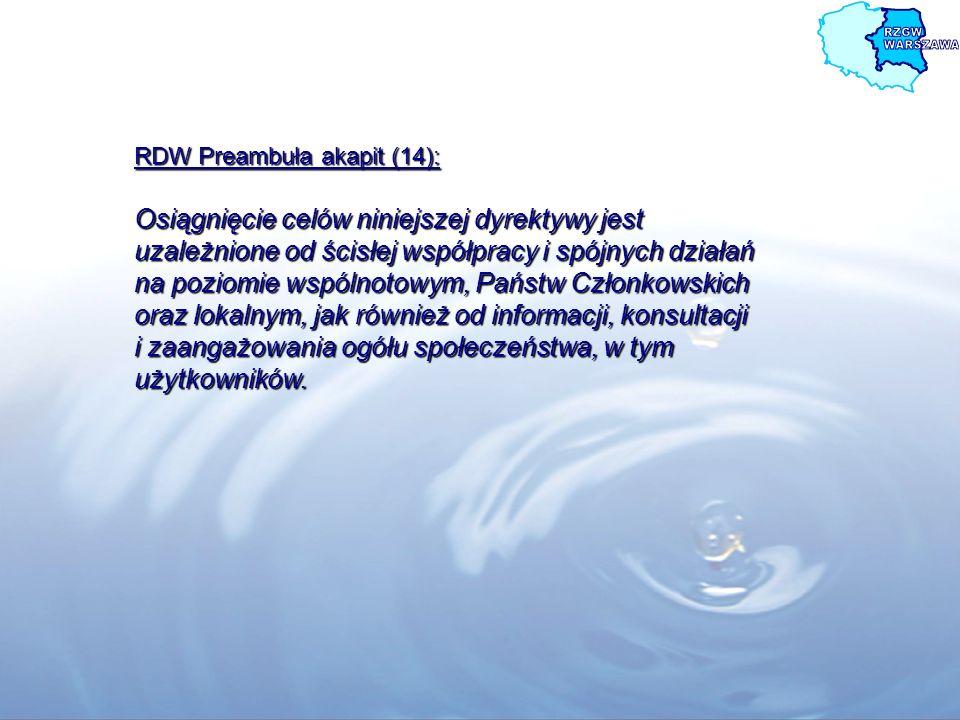 RDW Preambuła akapit (14): Osiągnięcie celów niniejszej dyrektywy jest uzależnione od ścisłej współpracy i spójnych działań na poziomie wspólnotowym,