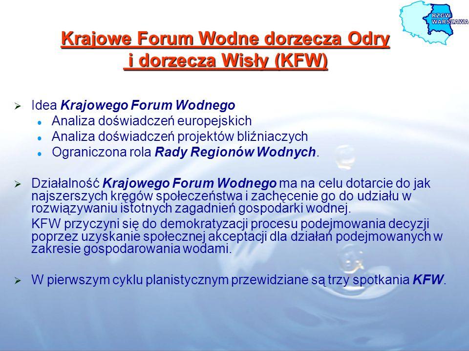 Krajowe Forum Wodne Powołanie KFW pozwala na: Prowadzenie dialogu pomiędzy różnymi organizacjami i instytucjami a administracją państwową odpowiedzialną za wdrażanie Ramowej Dyrektywy Wodnej (RDW) Omówienie i wyjaśnienie kluczowych zagadnień i zadań wynikających z RDW, Wskazanie problemów i kwestii spornych wiążących się z wdrażaniem RDW w warunkach polskich, Pogłębianie świadomości wspólnego celu i określenia sposobu jego osiągnięcia, Wspólne wypracowanie rozwiązań dotyczących kwestii spornych wynikłych w trakcie wdrażania RDW, Wzajemną pomoc w rozwiązywaniu problemów.