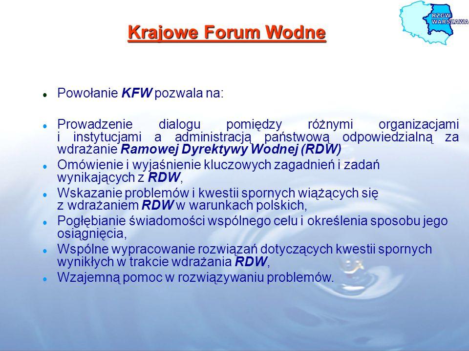 Krajowe Forum Wodne Powołanie KFW pozwala na: Prowadzenie dialogu pomiędzy różnymi organizacjami i instytucjami a administracją państwową odpowiedzial