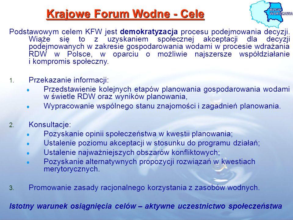 Krajowe Forum Wodne - Cele Podstawowym celem KFW jest demokratyzacja procesu podejmowania decyzji. Wiąże się to z uzyskaniem społecznej akceptacji dla