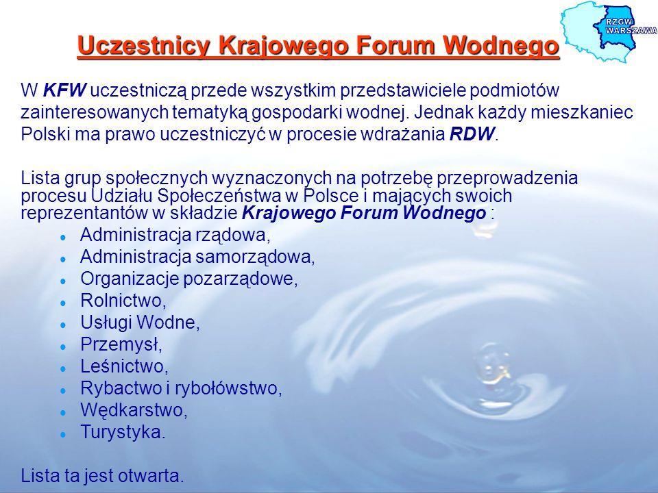 Uczestnicy Krajowego Forum Wodnego W KFW uczestniczą przede wszystkim przedstawiciele podmiotów zainteresowanych tematyką gospodarki wodnej. Jednak ka