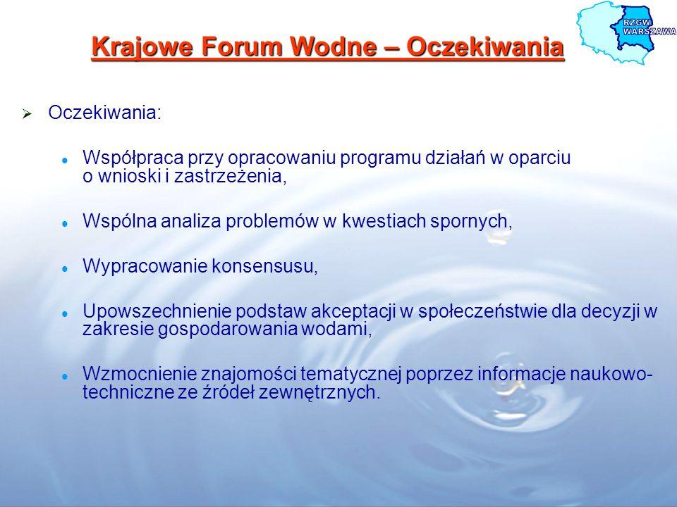 Krajowe Forum Wodne – Oczekiwania Oczekiwania: Współpraca przy opracowaniu programu działań w oparciu o wnioski i zastrzeżenia, Wspólna analiza proble