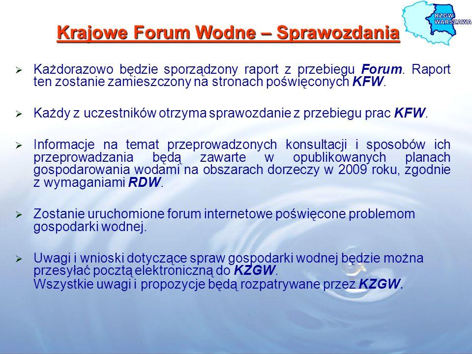 Krajowe Forum Wodne – Sprawozdania Każdorazowo będzie sporządzony raport z przebiegu Forum. Raport ten zostanie zamieszczony na stronach poświęconych