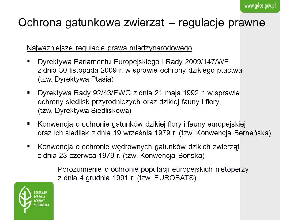 Ochrona gatunkowa zwierząt – regulacje prawne Najważniejsze regulacje prawa międzynarodowego Dyrektywa Parlamentu Europejskiego i Rady 2009/147/WE z d