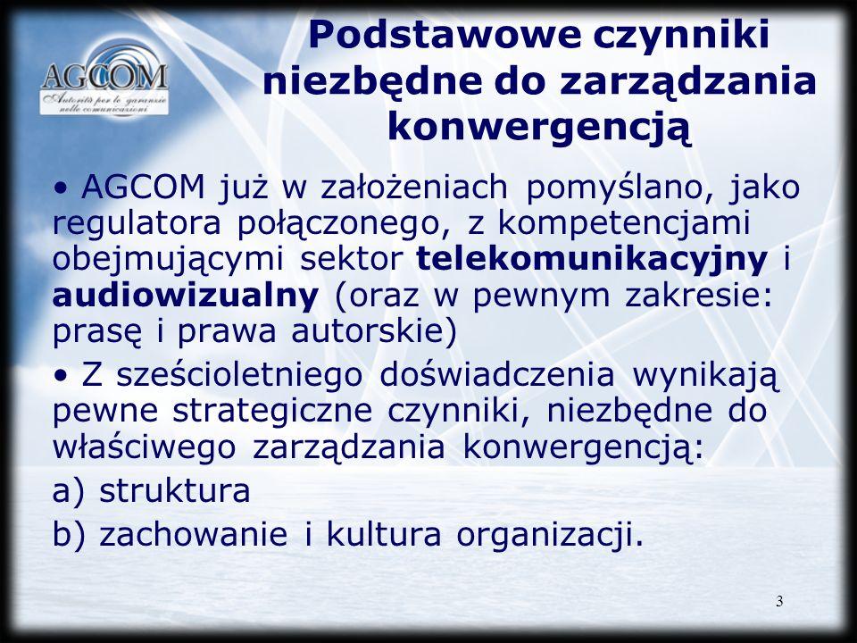 3 Podstawowe czynniki niezbędne do zarządzania konwergencją AGCOM już w założeniach pomyślano, jako regulatora połączonego, z kompetencjami obejmujący