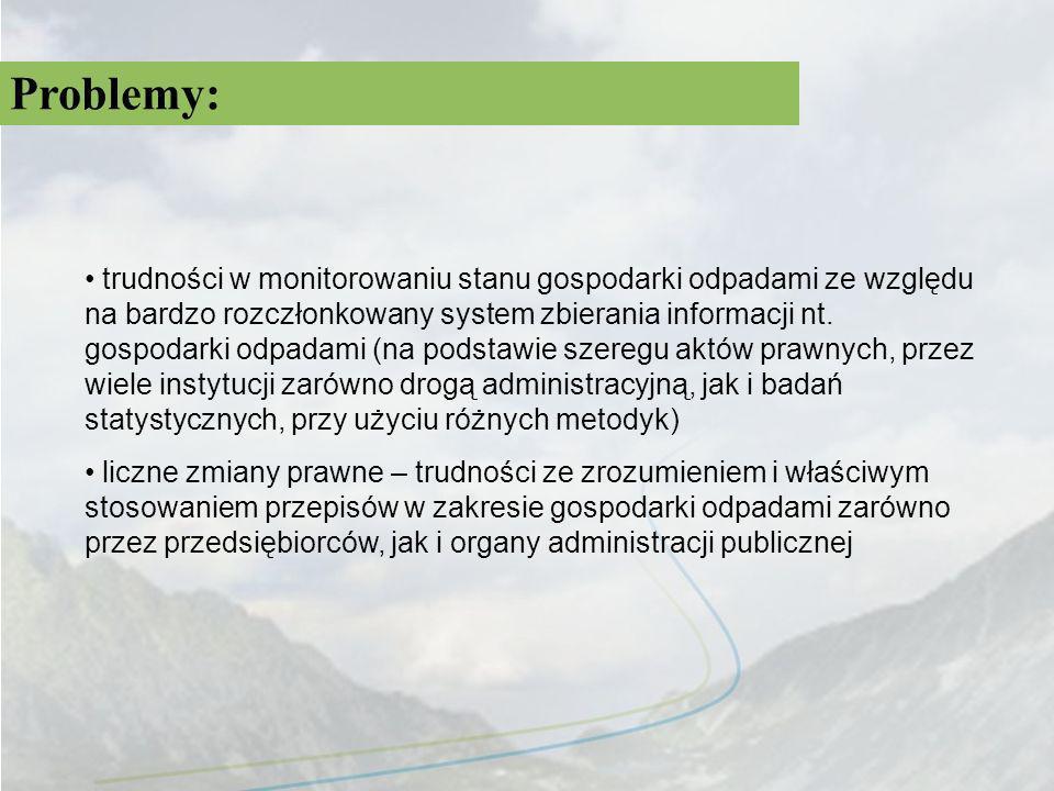 Problemy: trudności w monitorowaniu stanu gospodarki odpadami ze względu na bardzo rozczłonkowany system zbierania informacji nt. gospodarki odpadami