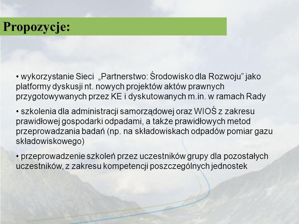 Propozycje: wykorzystanie Sieci Partnerstwo: Środowisko dla Rozwoju jako platformy dyskusji nt. nowych projektów aktów prawnych przygotowywanych przez