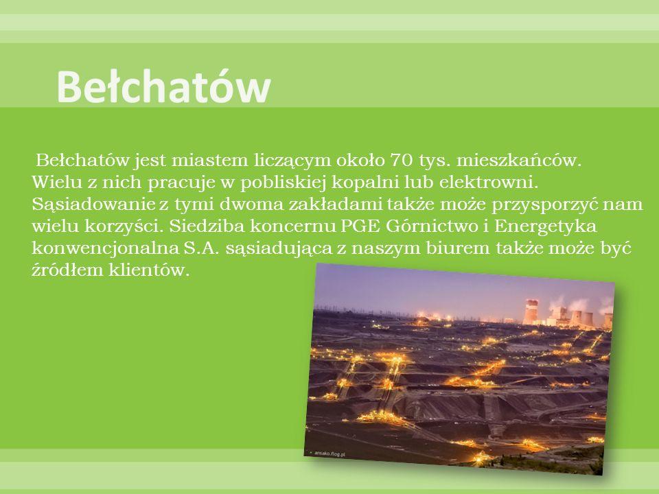 Bełchatów jest miastem liczącym około 70 tys. mieszkańców. Wielu z nich pracuje w pobliskiej kopalni lub elektrowni. Sąsiadowanie z tymi dwoma zakłada