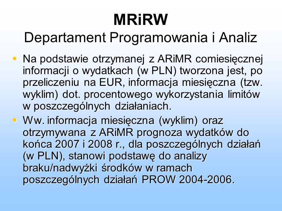 MRiRW Departament Programowania i Analiz Na podstawie otrzymanej z ARiMR comiesięcznej informacji o wydatkach (w PLN) tworzona jest, po przeliczeniu na EUR, informacja miesięczna (tzw.