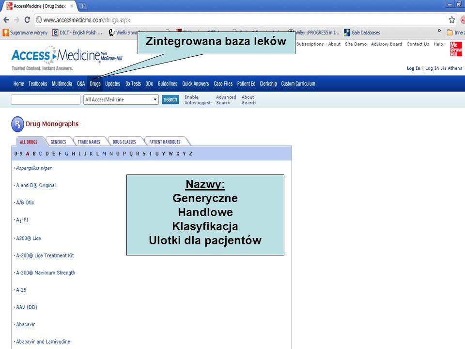 Zintegrowana baza leków Nazwy: Generyczne Handlowe Klasyfikacja Ulotki dla pacjentów
