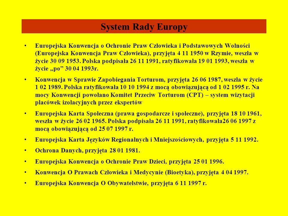 Podpisane i ratyfikowane przez Polskę Konwencje i Deklaracje dotyczące praw człowieka System ONZ Karta Narodów Zjednoczonych, 1945 rok Konwencja O Zap