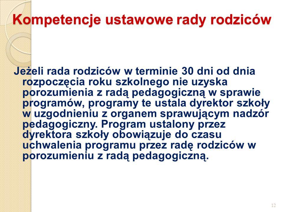 Kompetencje ustawowe rady rodziców Jeżeli rada rodziców w terminie 30 dni od dnia rozpoczęcia roku szkolnego nie uzyska porozumienia z radą pedagogicz
