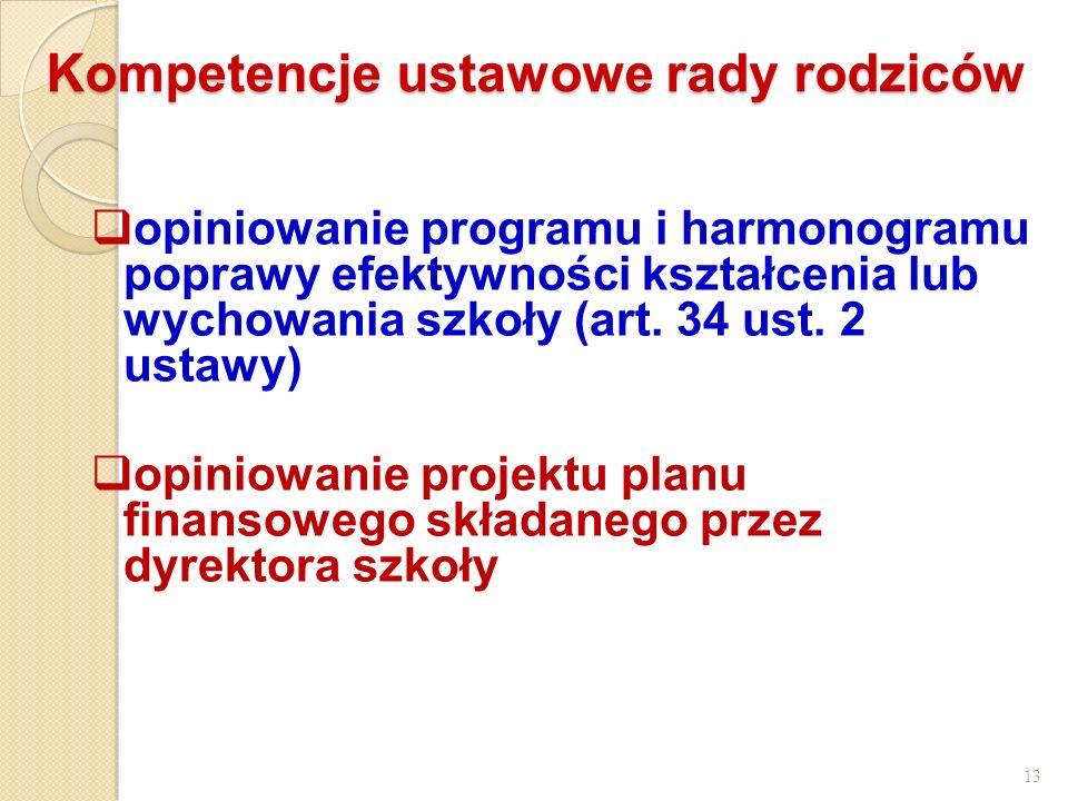 Kompetencje ustawowe rady rodziców opiniowanie programu i harmonogramu poprawy efektywności kształcenia lub wychowania szkoły (art. 34 ust. 2 ustawy)