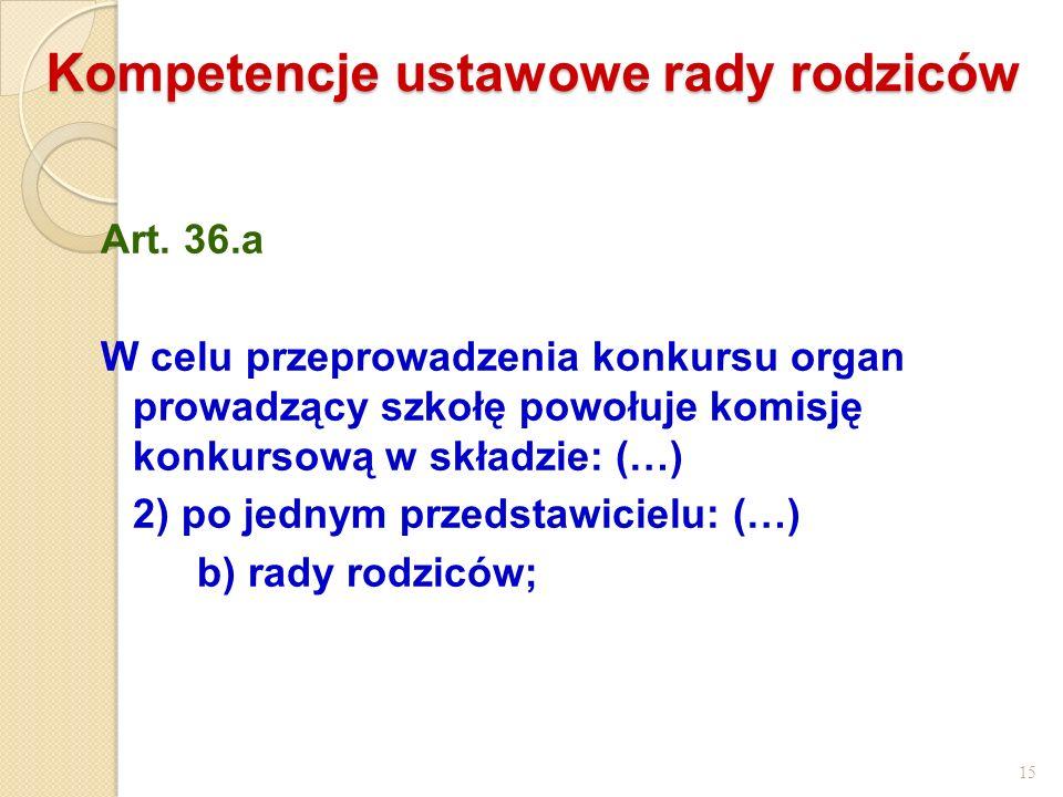 Kompetencje ustawowe rady rodziców Art. 36.a W celu przeprowadzenia konkursu organ prowadzący szkołę powołuje komisję konkursową w składzie: (…) 2) po