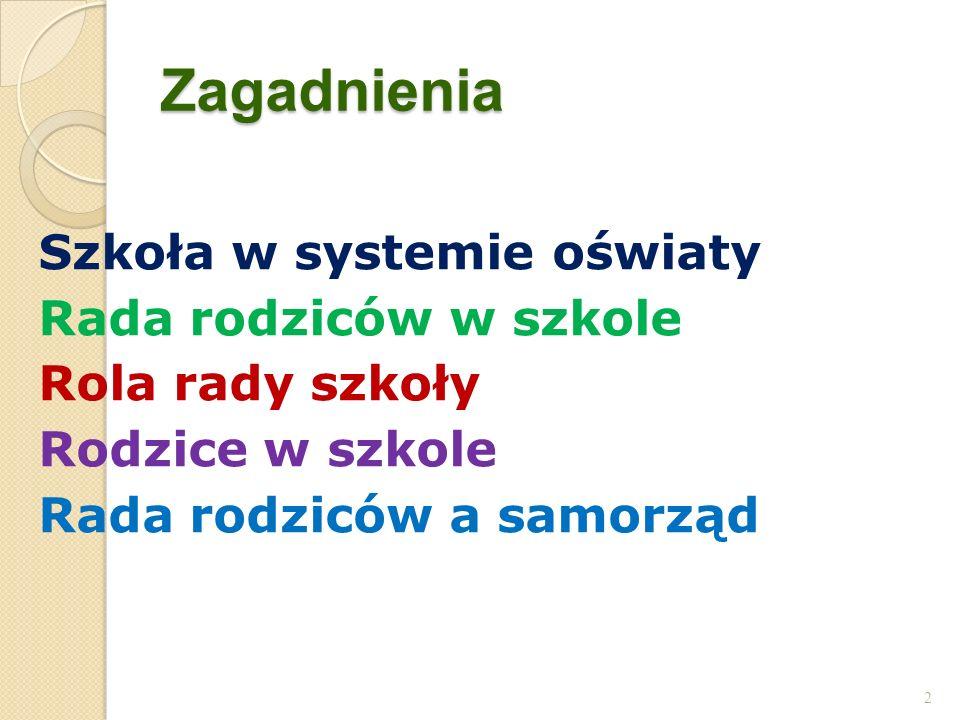 Zagadnienia Szkoła w systemie oświaty Rada rodziców w szkole Rola rady szkoły Rodzice w szkole Rada rodziców a samorząd 2