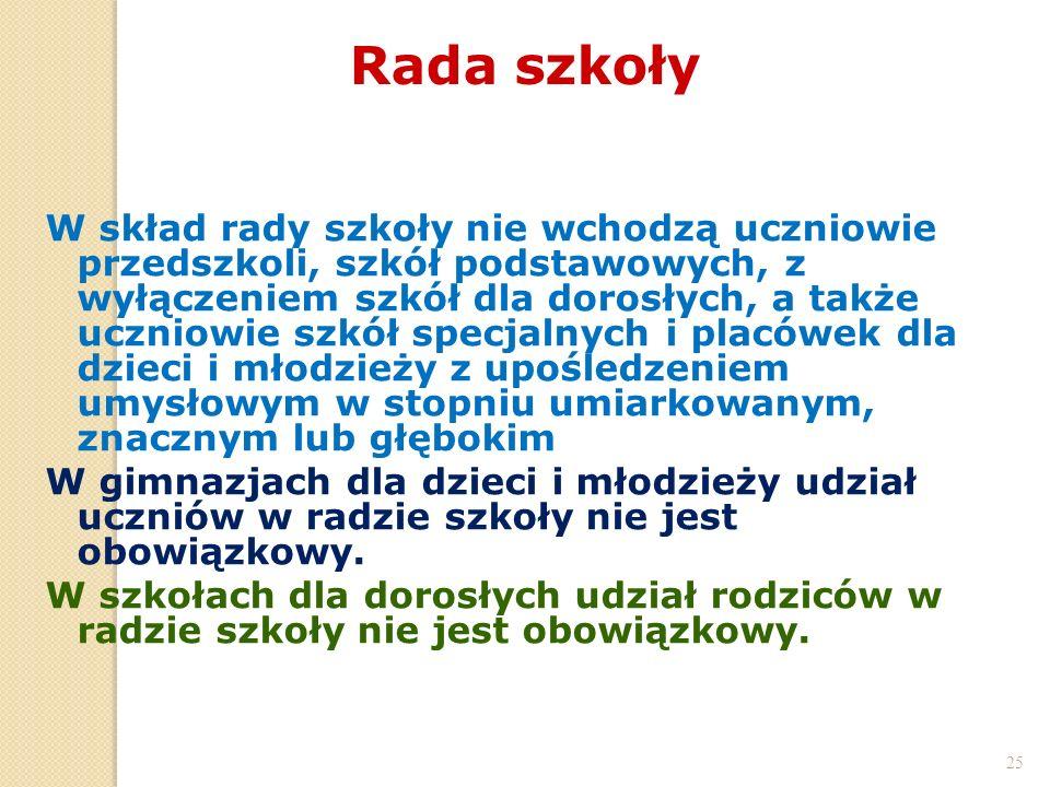 25 Rada szkoły 25 W skład rady szkoły nie wchodzą uczniowie przedszkoli, szkół podstawowych, z wyłączeniem szkół dla dorosłych, a także uczniowie szkó