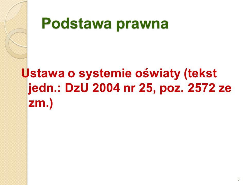 Podstawa prawna Ustawa o systemie oświaty (tekst jedn.: DzU 2004 nr 25, poz. 2572 ze zm.) 3