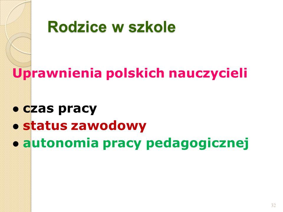 Rodzice w szkole Uprawnienia polskich nauczycieli czas pracy status zawodowy autonomia pracy pedagogicznej 32