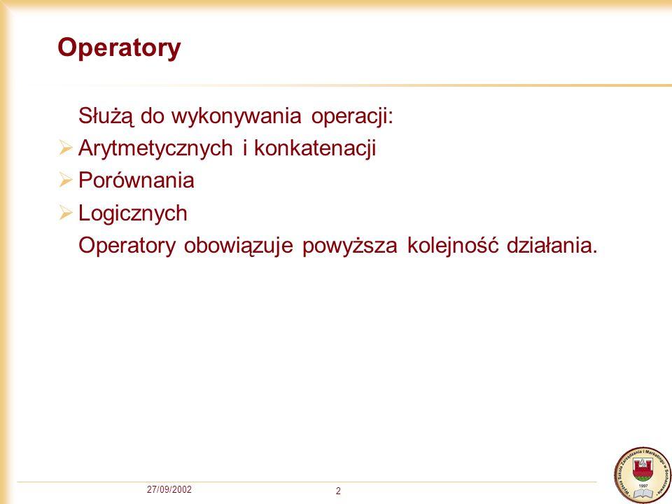 27/09/2002 2 Operatory Służą do wykonywania operacji: Arytmetycznych i konkatenacji Porównania Logicznych Operatory obowiązuje powyższa kolejność działania.