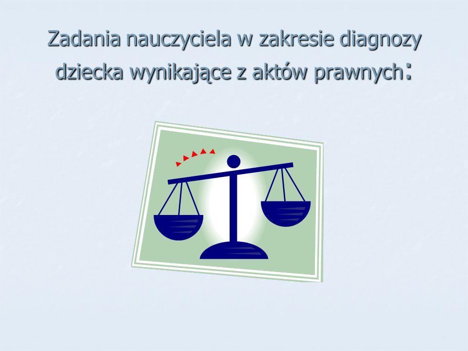 Zadania nauczyciela w zakresie diagnozy dziecka wynikające z aktów prawnych :