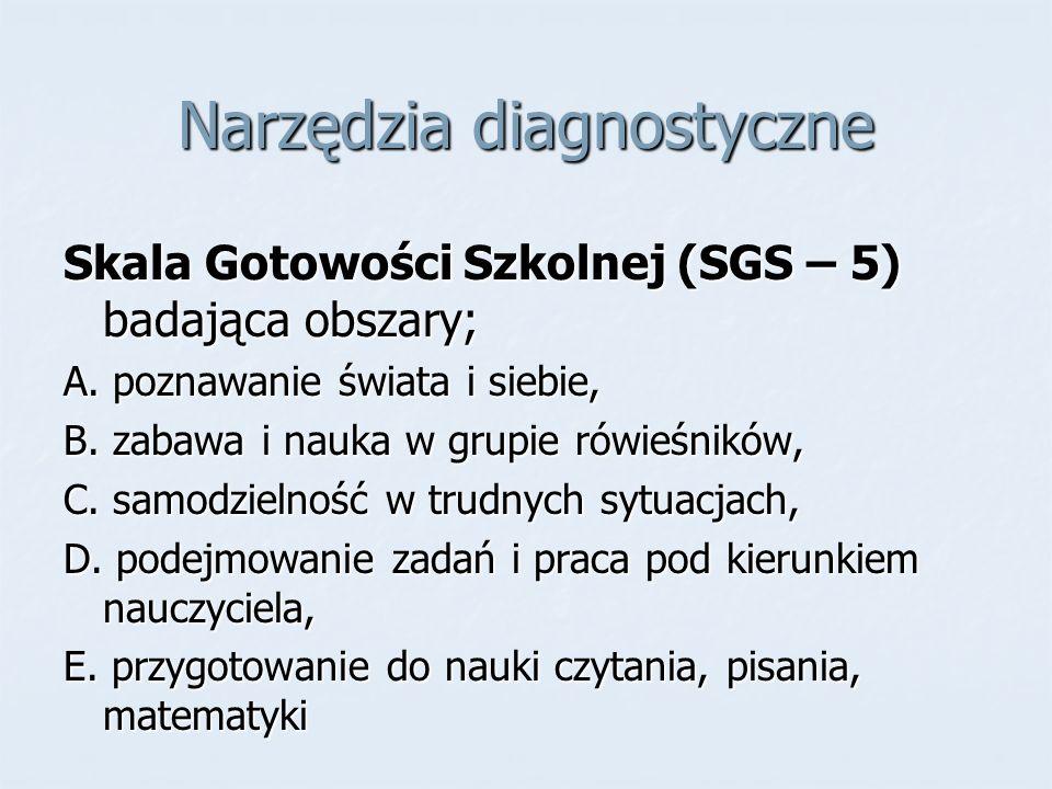 Narzędzia diagnostyczne Skala Gotowości Szkolnej (SGS – 5) badająca obszary; A. poznawanie świata i siebie, B. zabawa i nauka w grupie rówieśników, C.