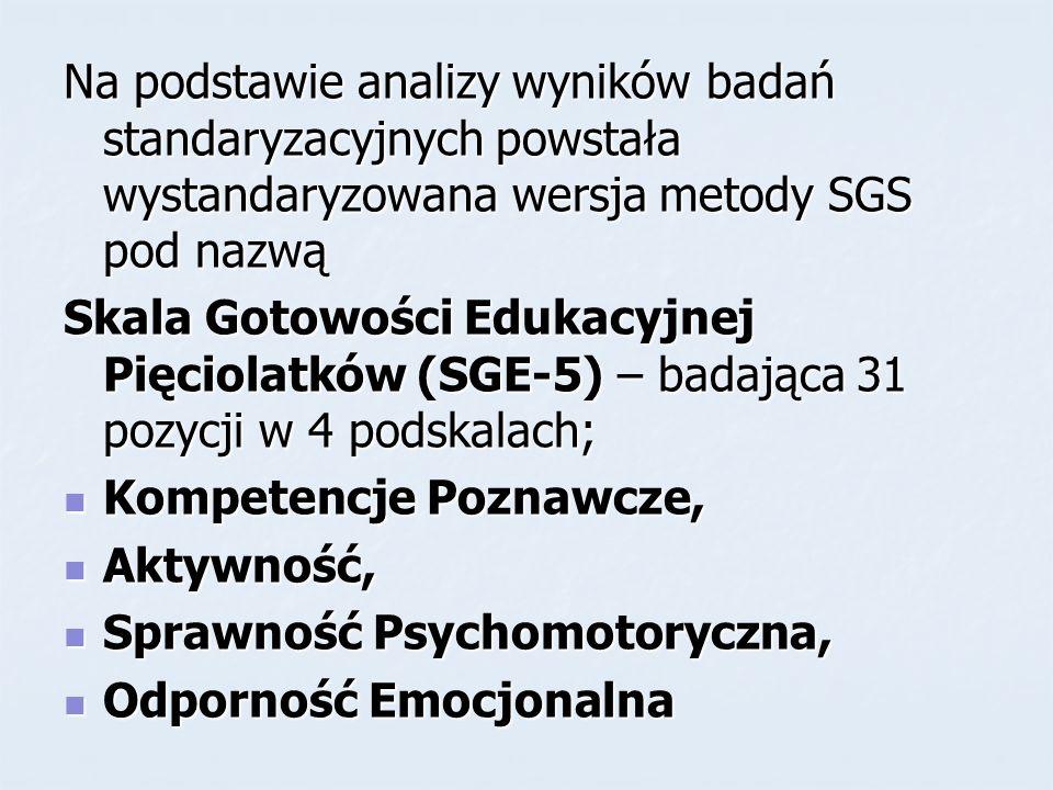 Na podstawie analizy wyników badań standaryzacyjnych powstała wystandaryzowana wersja metody SGS pod nazwą Skala Gotowości Edukacyjnej Pięciolatków (S