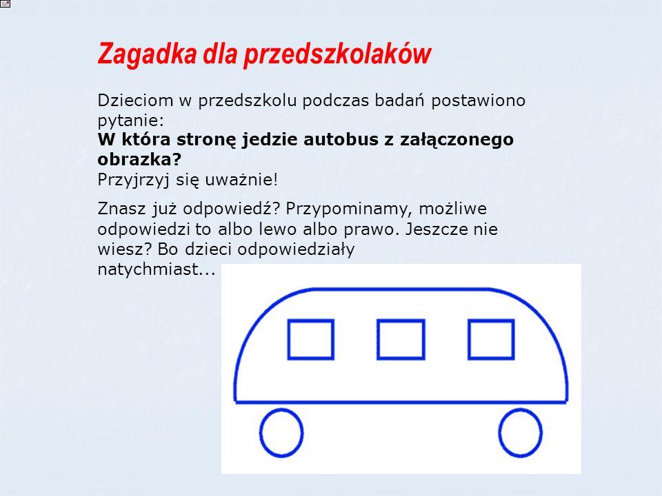 Zagadka dla przedszkolaków Dzieciom w przedszkolu podczas badań postawiono pytanie: W która stronę jedzie autobus z załączonego obrazka? Przyjrzyj się
