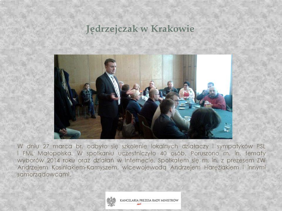 Jędrzejczak w Krakowie W dniu 27 marca br. odbyło się szkolenie lokalnych działaczy i sympatyków PSL i FML Małopolska. W spotkaniu uczestniczyło 40 os