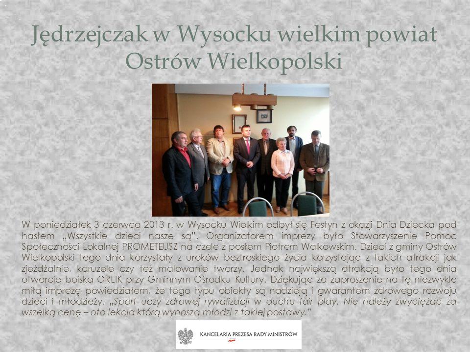 Jędrzejczak w Wysocku wielkim powiat Ostrów Wielkopolski W poniedziałek 3 czerwca 2013 r. w Wysocku Wielkim odbył się Festyn z okazji Dnia Dziecka pod