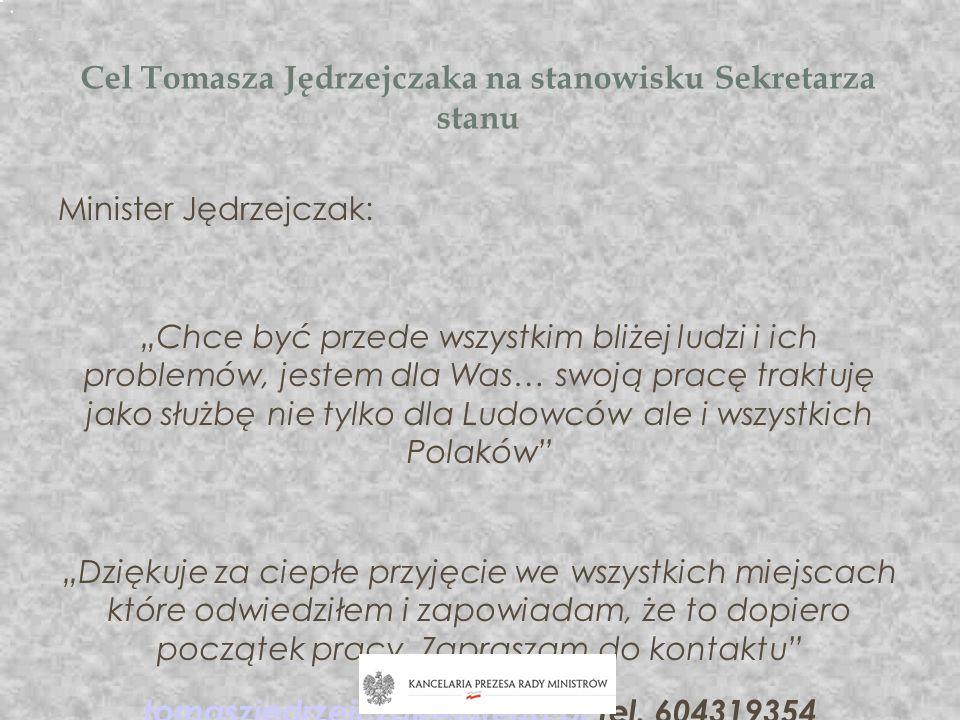Cel Tomasza Jędrzejczaka na stanowisku Sekretarza stanu Minister Jędrzejczak: Chce być przede wszystkim bliżej ludzi i ich problemów, jestem dla Was…