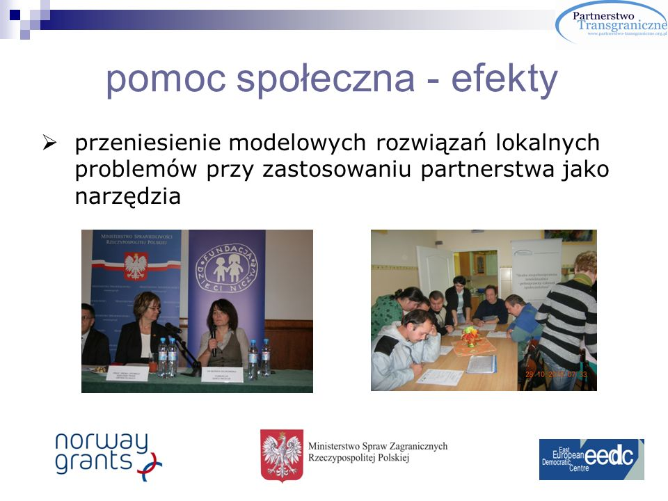 pomoc społeczna - efekty przeniesienie modelowych rozwiązań lokalnych problemów przy zastosowaniu partnerstwa jako narzędzia