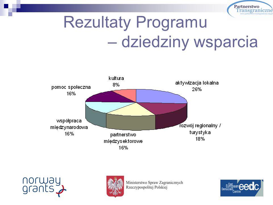 Rezultaty Programu – dziedziny wsparcia