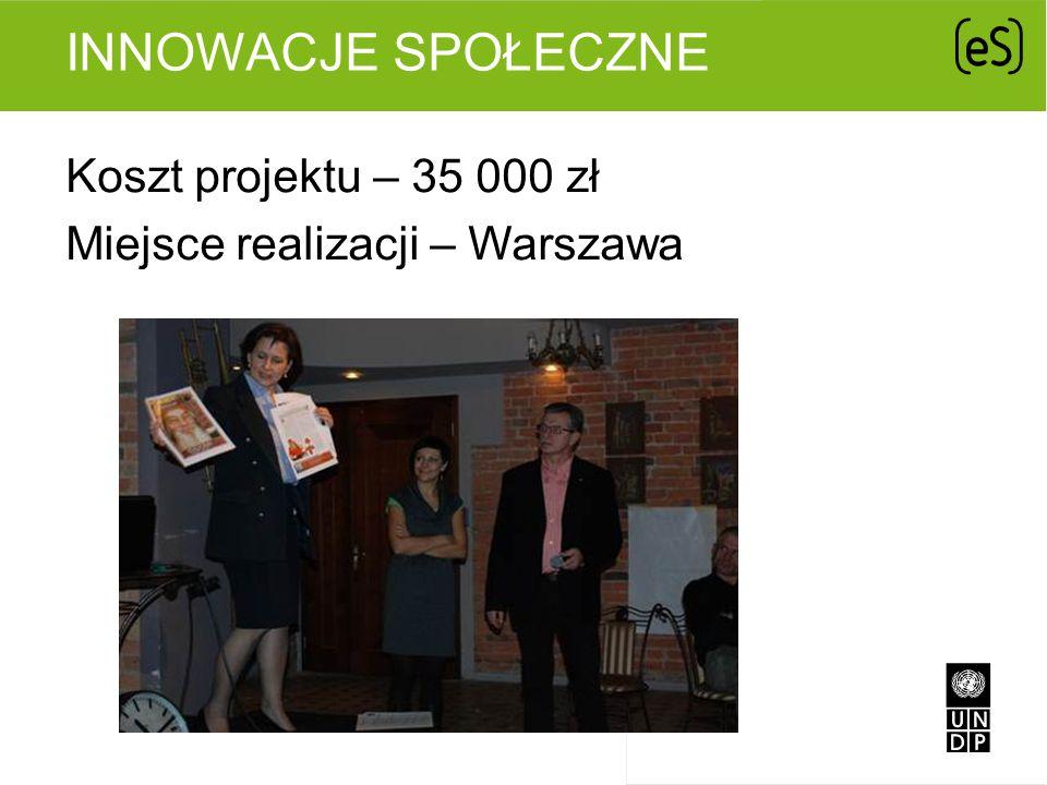 INNOWACJE SPOŁECZNE Koszt projektu – 35 000 zł Miejsce realizacji – Warszawa
