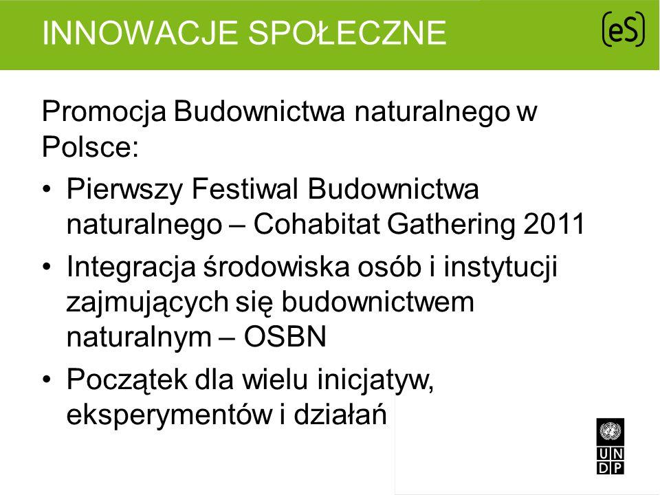 INNOWACJE SPOŁECZNE Promocja Budownictwa naturalnego w Polsce: Pierwszy Festiwal Budownictwa naturalnego – Cohabitat Gathering 2011 Integracja środowi