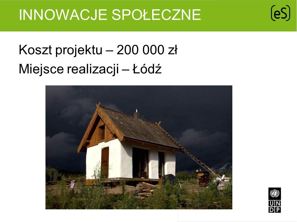 INNOWACJE SPOŁECZNE Koszt projektu – 200 000 zł Miejsce realizacji – Łódź