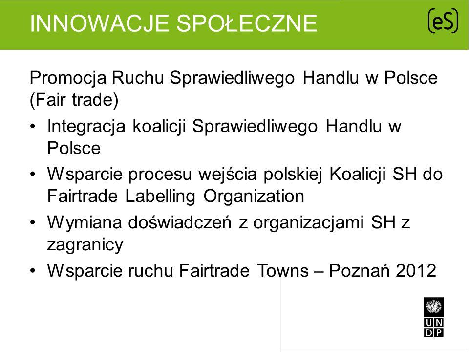 INNOWACJE SPOŁECZNE Promocja Ruchu Sprawiedliwego Handlu w Polsce (Fair trade) Integracja koalicji Sprawiedliwego Handlu w Polsce Wsparcie procesu wej