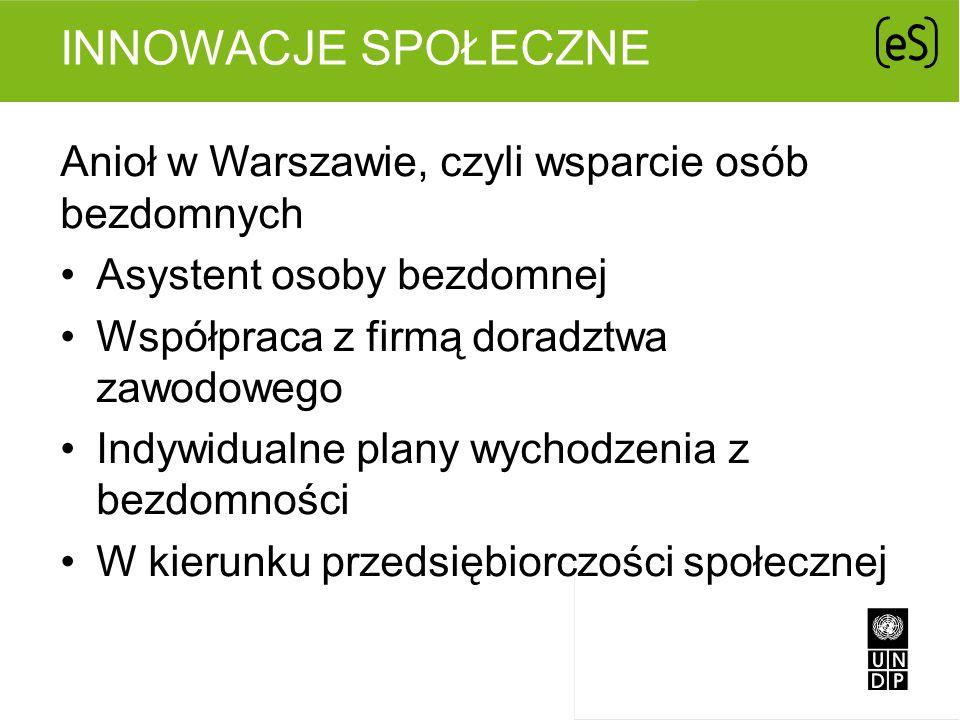 INNOWACJE SPOŁECZNE Anioł w Warszawie, czyli wsparcie osób bezdomnych Asystent osoby bezdomnej Współpraca z firmą doradztwa zawodowego Indywidualne pl