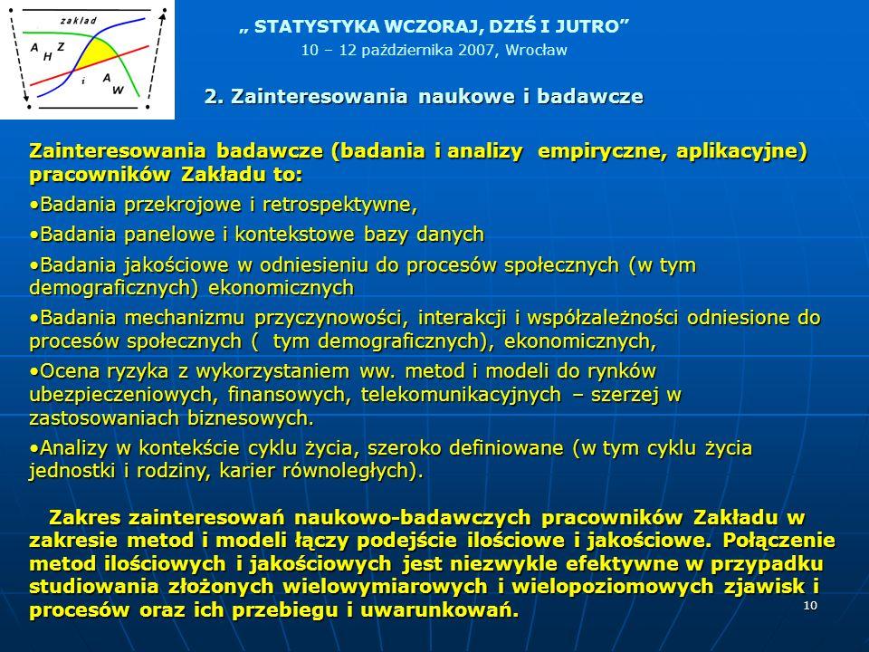 STATYSTYKA WCZORAJ, DZIŚ I JUTRO 10 – 12 października 2007, Wrocław 10 Zainteresowania badawcze (badania i analizy empiryczne, aplikacyjne) pracownikó