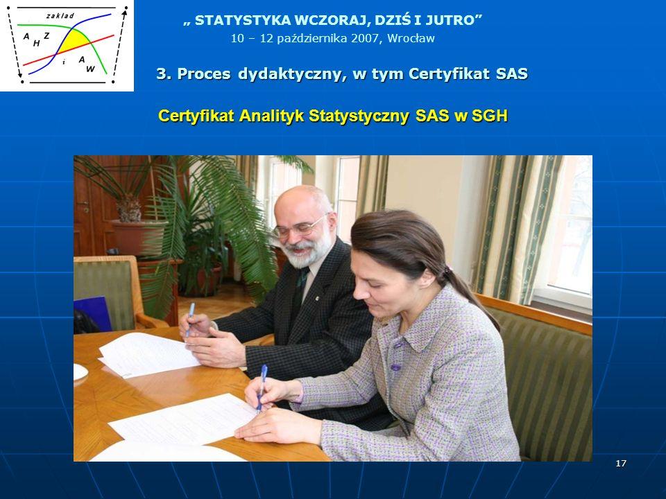 STATYSTYKA WCZORAJ, DZIŚ I JUTRO 10 – 12 października 2007, Wrocław 17 Certyfikat Analityk Statystyczny SAS w SGH 3. Proces dydaktyczny, w tym Certyfi