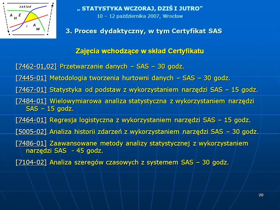STATYSTYKA WCZORAJ, DZIŚ I JUTRO 10 – 12 października 2007, Wrocław 20 Zajęcia wchodzące w skład Certyfikatu [7462-01,02] Przetwarzanie danych – SAS –