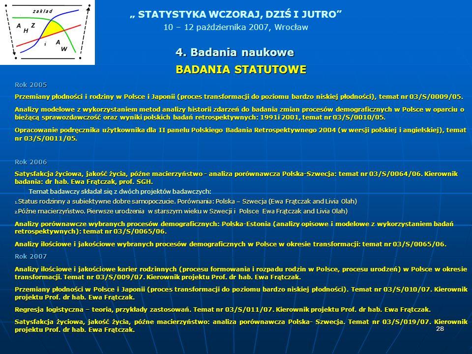 STATYSTYKA WCZORAJ, DZIŚ I JUTRO 10 – 12 października 2007, Wrocław 28 BADANIA STATUTOWE Rok 2005 Przemiany płodności i rodziny w Polsce i Japonii (pr
