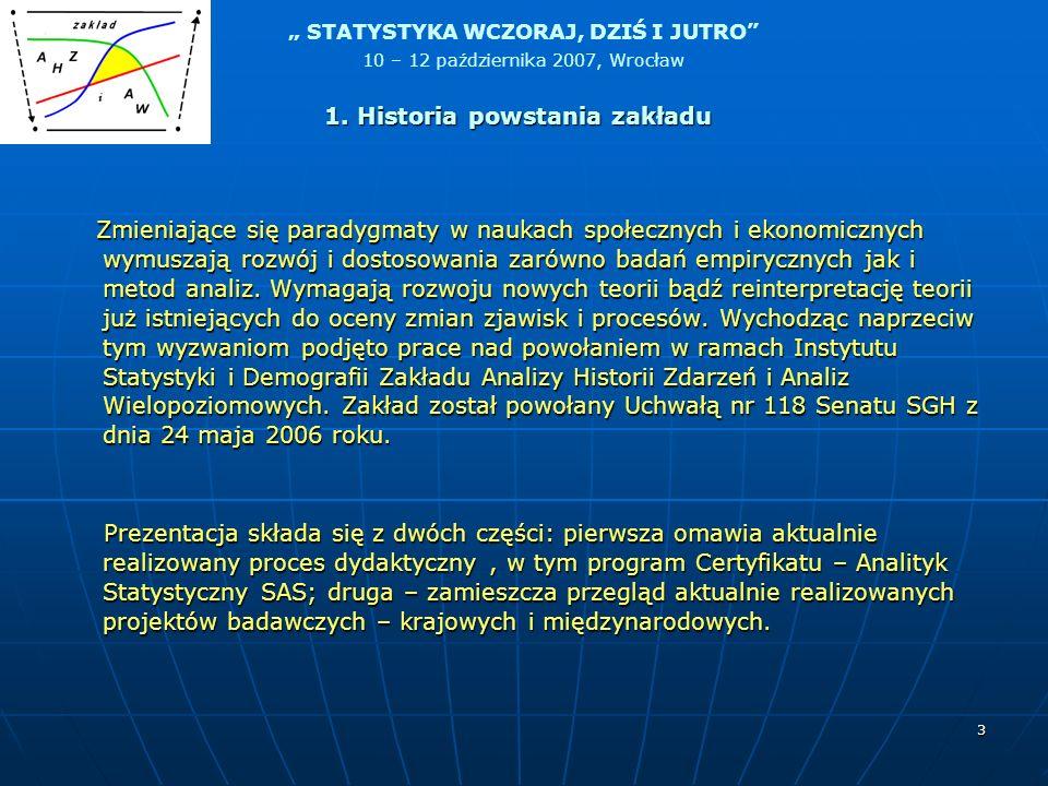 STATYSTYKA WCZORAJ, DZIŚ I JUTRO 10 – 12 października 2007, Wrocław 14 Od 1994 roku Szkoła Główna Handlowa posiada licencję Systemu SAS.